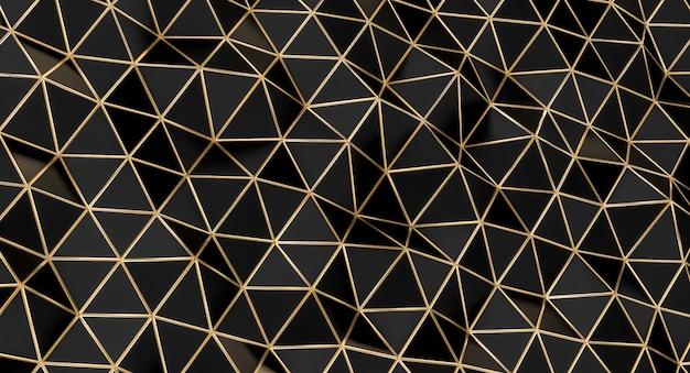 Estrutura com polígonos triangulares pretos com bordas douradas