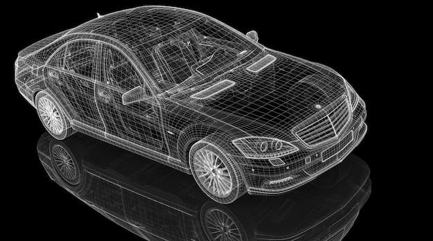 Estrutura da carroceria do modelo 3d do carro, modelo de arame