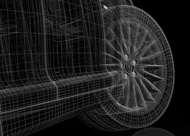 Estrutura da carroceria do modelo 3d do carro
