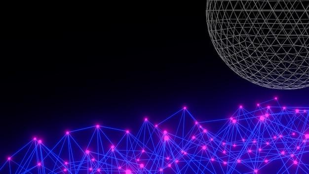 Estrutura de arame 3d renderizada com estrutura brilhante e azul-preta
