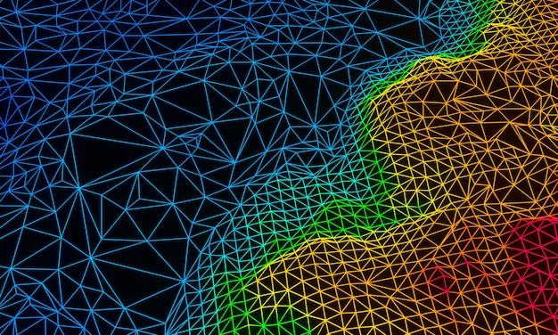 Estrutura de arame topográfica renderizada em 3d ilha de cor gradiente