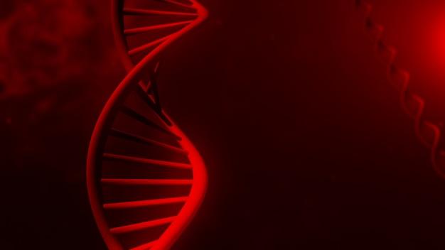 Estrutura de dna na ilustração 3d abstrato vermelho