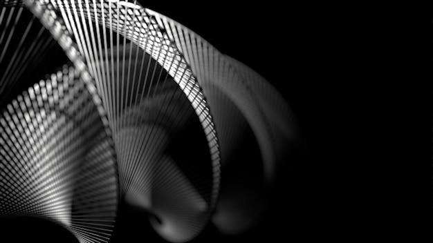 Estrutura de estrutura de arame em forma de geometria espiral.