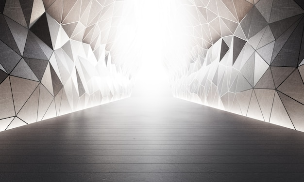 Estrutura de formas geométricas no piso de concreto cinza com fundo branco da parede no grande salão ou sala de exposições moderna.