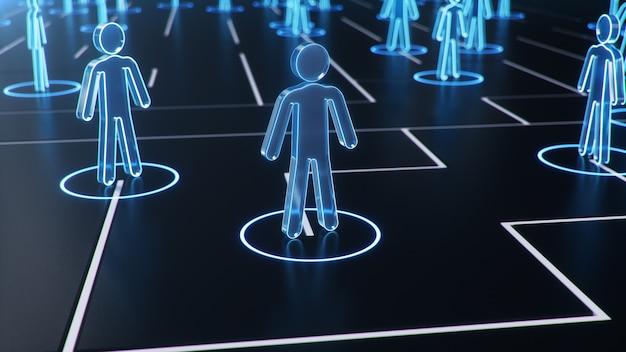 Estrutura de rede entre pessoas, troca de dados