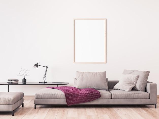 Estrutura de simulação em design moderno de sala de estar