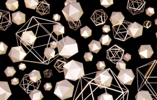 Estrutura hexagonal dourada padrão flutuante no fundo preto