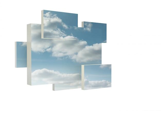 Estrutura, mostrando, nuvens