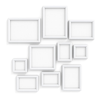 Estruturas em branco de tamanhos diferentes para fotos e fotos em uma parede ilustração 3d