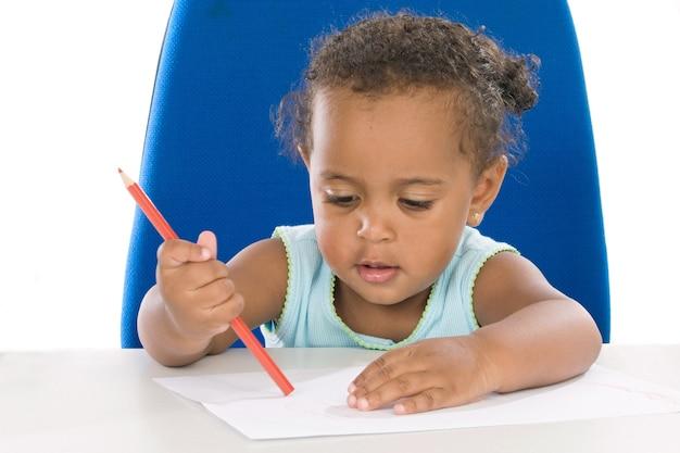 Estudante adorável bebê um sobre fundo branco