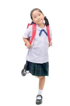 Estudante asiática bonito com saco de escola isolado