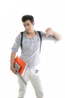 Estudante caucasiano preocupado com gesto negativo
