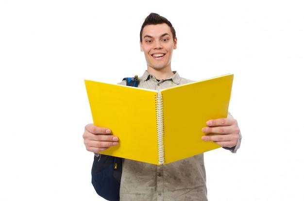 Estudante caucasiano sorridente com mochila e livros