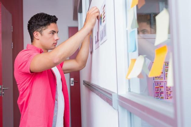 Estudante colocando gráficos na parede