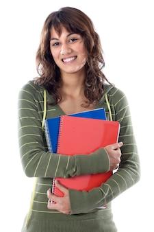 Estudante de garota atraente um sobre fundo branco