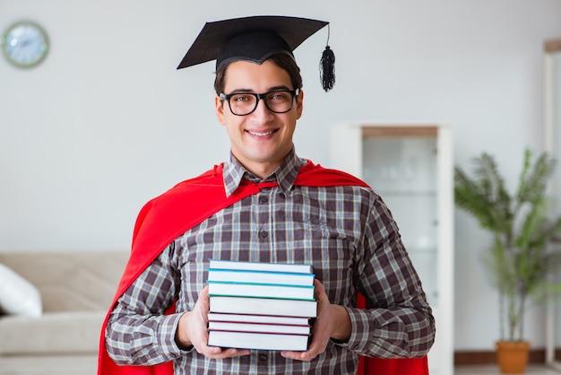 Estudante de super herói com livros estudando para os exames