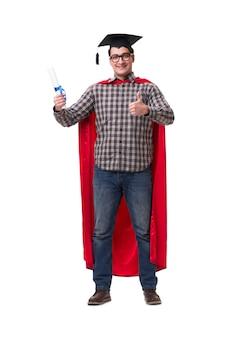 Estudante de super herói com livros isolados