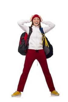 Estudante engraçado com mochila isolado no branco