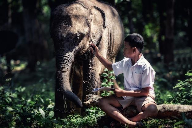 Estudante menino asiático com ele elefante, zona rural na tailândia