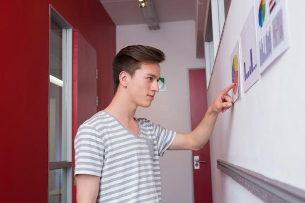 Estudante que olha gráficos na parede
