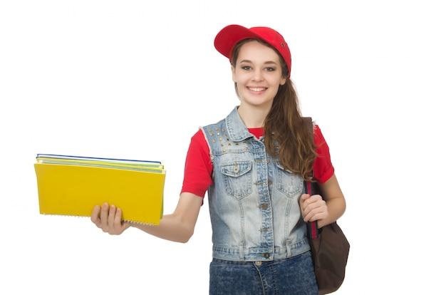Estudante segurando livros isolados no branco