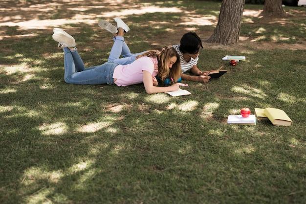 Estudantes adolescentes multiétnicas fazendo lição de casa