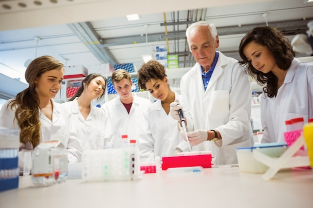 Estudantes assistindo conferencista no laboratório