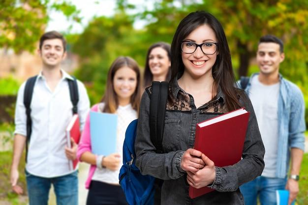Estudantes em um parque
