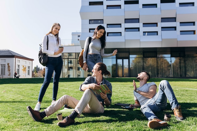 Estudantes trabalham no gramado verde antes da biblioteca