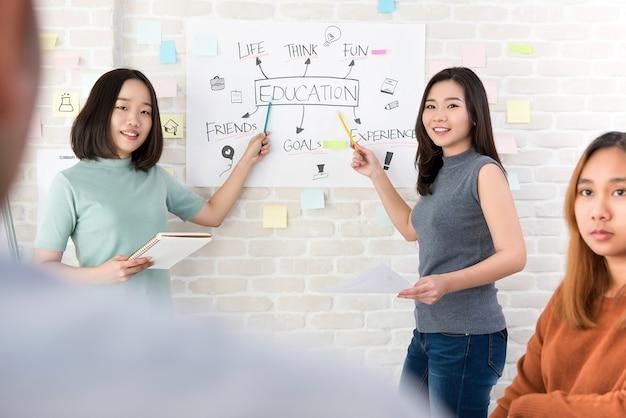 Estudantes universitários do sexo feminino fazendo uma apresentação em sala de aula