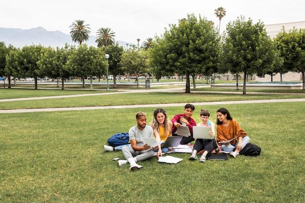 Estudantes universitários trabalhando juntos no parque