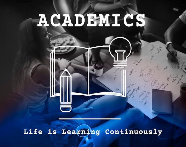 Estudar conhecimento academics institute graphic