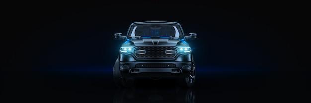 Estúdio de carro esportivo configurado em renderização 3d de fundo escuro