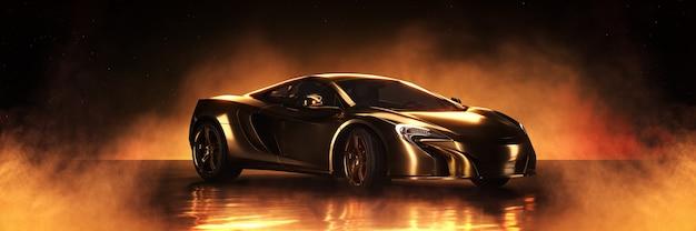 Estúdio de carro esportivo dourado configurado em uma renderização 3d de fundo dourado