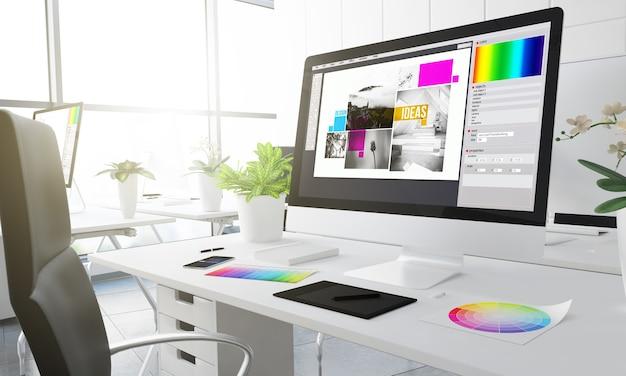 Estúdio de design de composição. renderização 3d