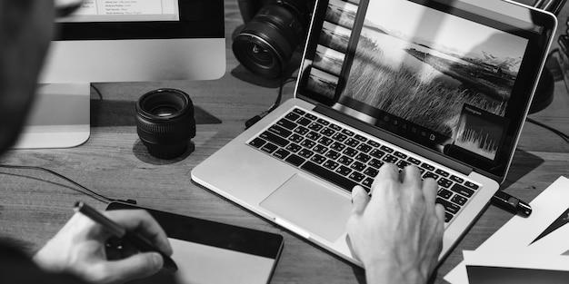 Estúdio de design fotografia ideia ocupação criativa conceito