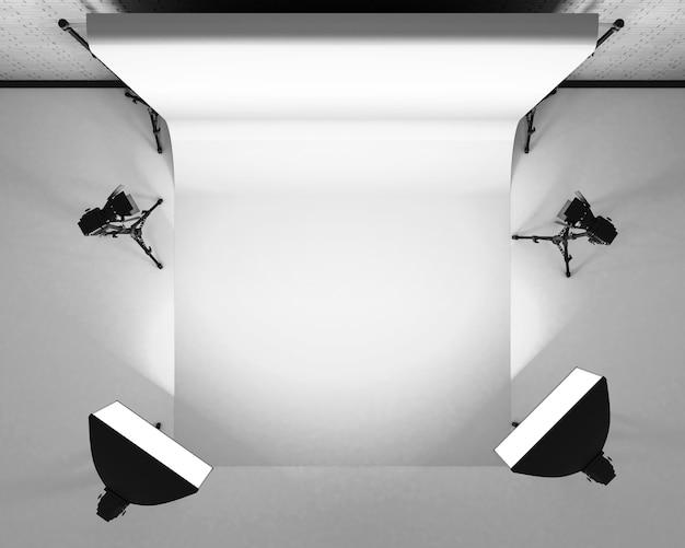 Estúdio de fotografia vazio com equipamento de iluminação. renderização 3d.