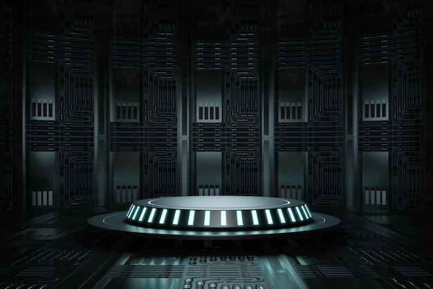 Estúdio de plataforma de pódio de produto de alta tecnologia em nave espacial com fio elétrico