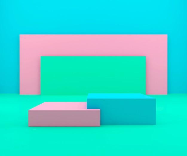 Estúdio de renderização 3d com formas geométricas, pódio no chão.