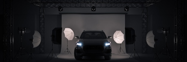 Estúdio fotográfico com renderização 3d de carros esportivos