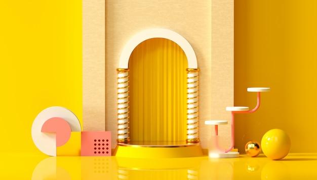 Estúdio mínimo com pedestal redondo e forma geométrica em fundo amarelo