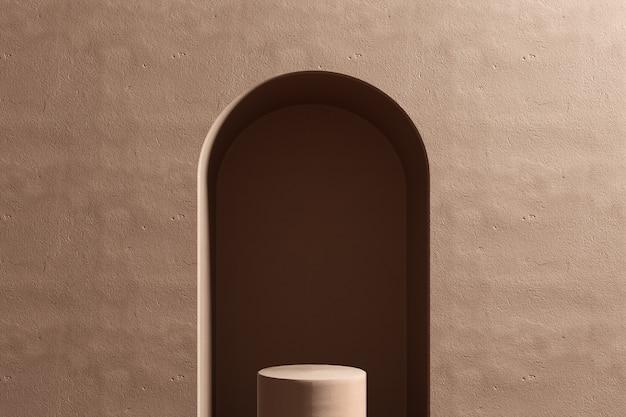 Estúdio renderizado 3d com formas geométricas, pódio no chão. plataformas para apresentação de produtos, simulação de plano de fundo.