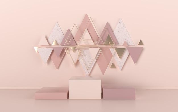 Estúdio renderizado 3d com formas geométricas, pódio no chão