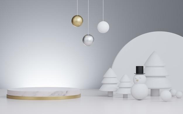 Estúdio renderizado 3d simulado para fundo de natal para apresentação de produto, com árvore de natal e boneco de neve e decoração