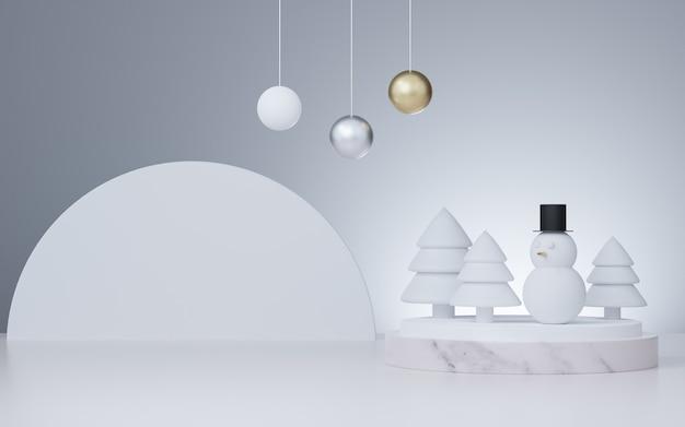 Estúdio renderizado 3d simulado para fundo de natal para apresentação de produto