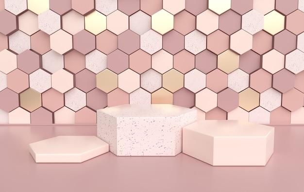 Estúdio renderizado com pódio de formas geométricas para apresentação do produto