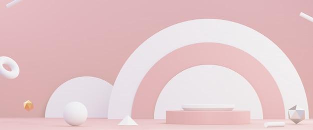 Estúdio rosa e branco com pódio e formas geométricas