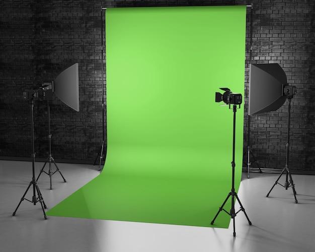 Estúdio tela verde com caixa de luz e softbox