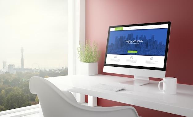 Estúdio vermelho com computador moderno de web design e horizonte de londres ao fundo