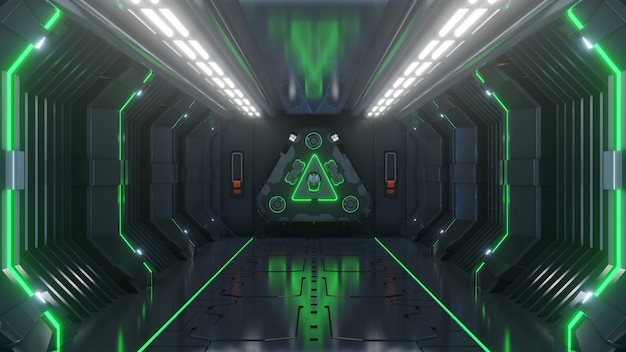 Esvazie a luz verde sala de estúdio futurista sci fi grande sala de salão com luzes azuis